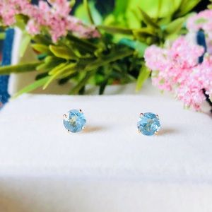 14K Y Gold 6mm Swiss Blue Topaz Earrings